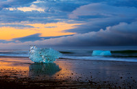 Icebergs On Black Beach
